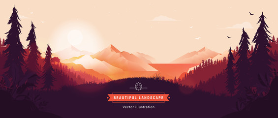 Beautiful vector landscape illustration - Peaceful warm sunrise over mountains, ocean and forest. Travel, hiking, outdoors and adventure concept. Use as background or wallpaper. Fotobehang
