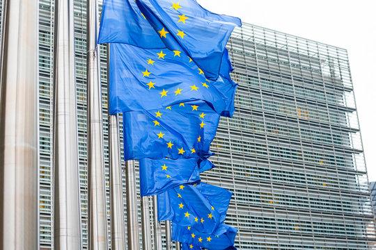 European Union Flags in the European Quarter in Brussels (Belgium)