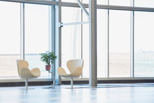 Chairs in modern lobby
