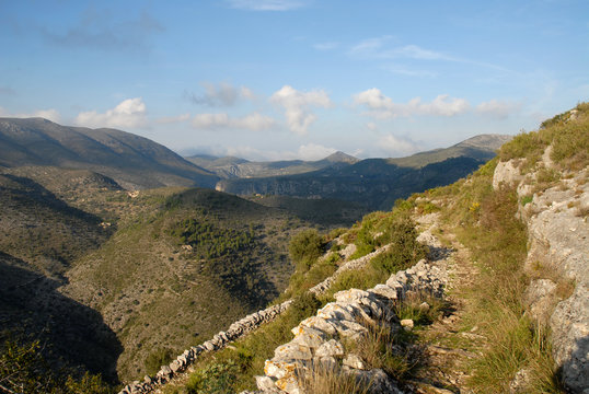 Historic Mozarabic mule trail in the Valle de Laguar, now a popular hiking track known as the Six Thousand Steps, near Benimaurell, Alicante Province, Spain