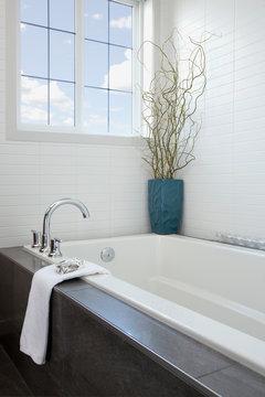 Bathtub in contemporary bathroom