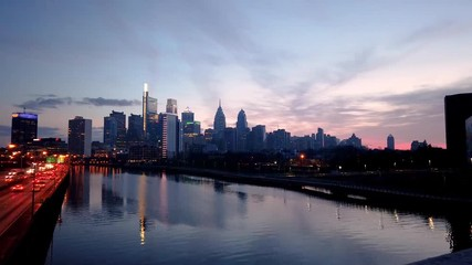 Wall Mural - Philadelphia at sunrise time lapse