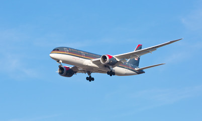Chicago, USA - September 5, 2017: A Royal Jordanian Airlines Boeing 787 on final approach to O'Hare International Airport.