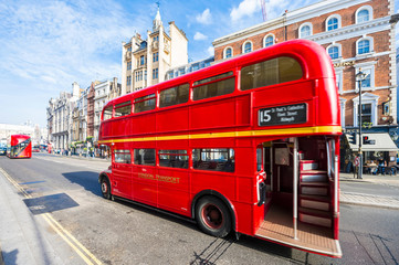 LONDON - NOVEMBER 11 2016 Old-fashioned red double-decker Routemaster bus travels a heritage route in the city center