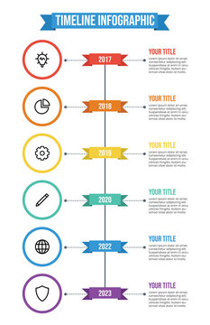 Data visualization, vertical timeline infographic template vector with 6 points of years, titles, descriptions, and icons. business company milestones template. annual report.