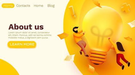 Obraz 3d Business People with Big Light Bulb Idea. Innovation, Brainstorming, Creativity Concept. Website Landing page. - fototapety do salonu