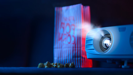 Cosiness and comfort. Viewing films and cinema. Banner, projector, viewing and rest