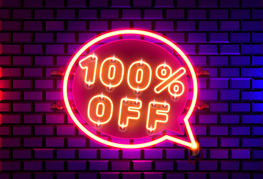 Neon chat frame 100 off text banner. Night Sign board.