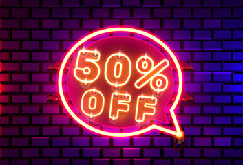 Neon chat frame 50 off text banner. Night Sign board.