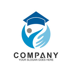 education care logo, people with hand and graduation cap, science and knowledge, smart icon, creativity vector logo