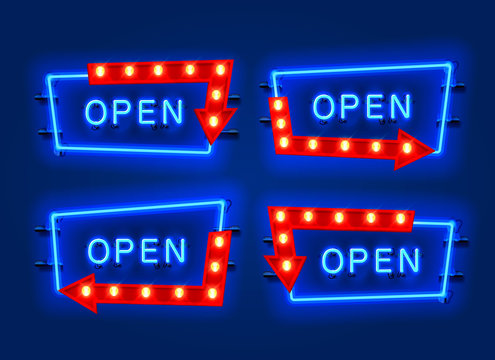 Neon open frame arrow set collection. template design element.
