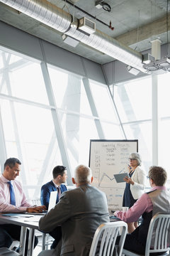 Businesswoman leading meeting at whiteboard in conference room