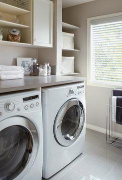 Energy efficient washing machine dryer white laundry room