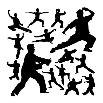 Tai chi silhouettes. Good use for symbol, logo, web icon, mascot, sign, or any design you want.