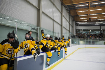 Womens ice hockey team jumping over sideline wall