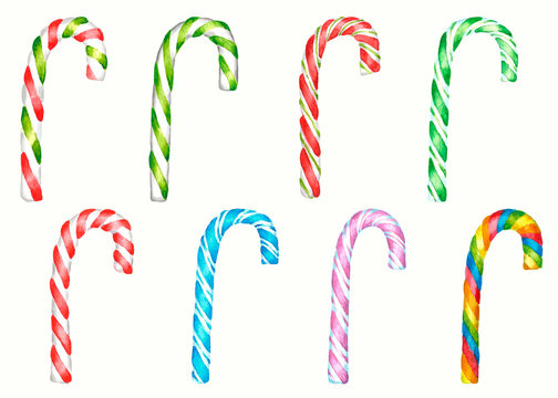 Set of  cristmas watercolor candy canes on white background. Isolated on white backgrpund. Multicolor: red, green, blue, pink,white, rainbow. Watercolor illustration.