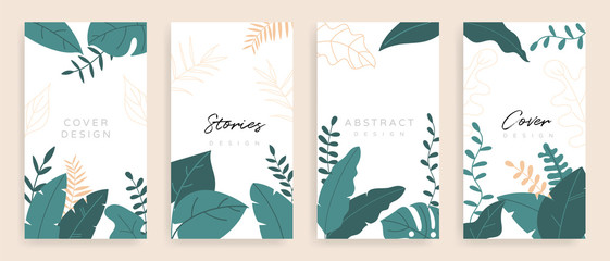 Social media stories and post background vector set. Background template with copy space for text and images design byTropical leaf shapes,  line arts and natural style brush.