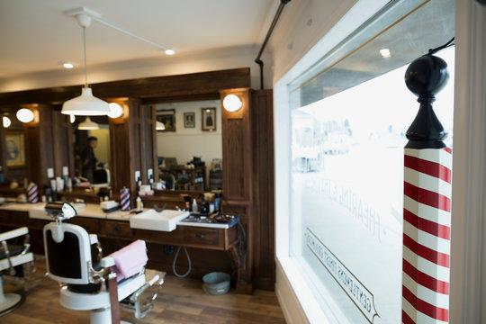 Barber shop pole in window