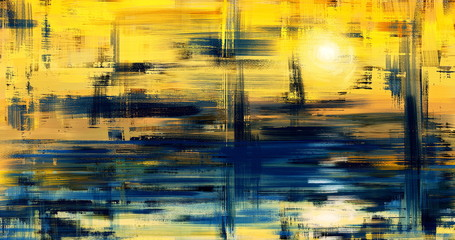 Canvas Prints Melon Abstract art landscape painting, background illustration. Sunset grunge artwork on canvas . Oil painted fine art. Yellow hand drawn wall art with water reflection