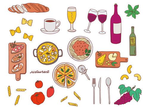 レストラン おしゃれ 手描き 素材 イラスト セット