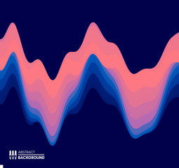 Abstract waveform background. 3d technology style. Vector illustration with sound waves.