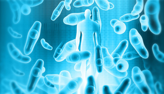 Virus, bacteria with human body background. 3d illustration