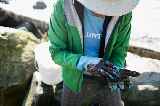 Beach cleanup volunteer with oil covered gloves