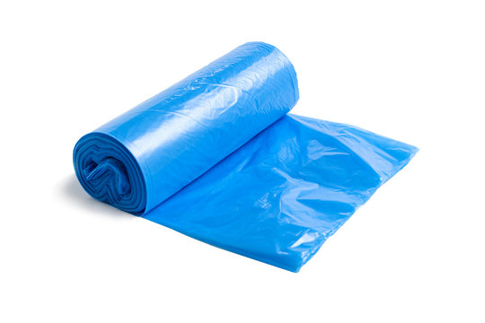 Blue plastic garbage bag isolated on the white background.