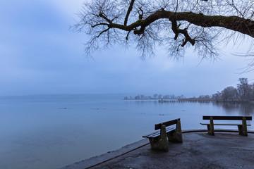 Regnerischer Winter Morgen in Diessen am Ammersee