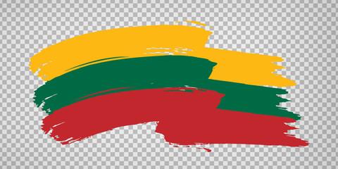 Flag of Lithuania, brush stroke background.  Waving Flag of Lithuania on tranparent backrgound for your web site design, logo, app, UI. Europe. EPS10.