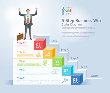 5 steps to business win concept. Businessman Men standing holding gold trophies on top infographics..