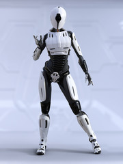 3D rendering of a female android robot posing.