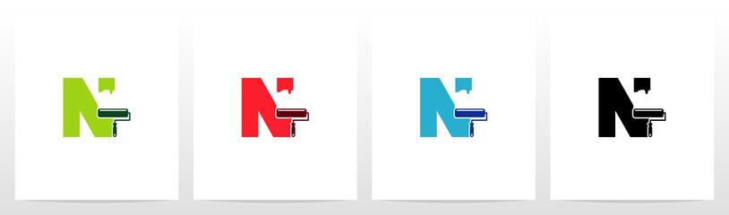 Paint Roller On Letter Logo Design N