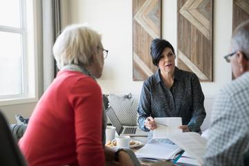 Financial advisor explaining paperwork meeting with senior couple in living room
