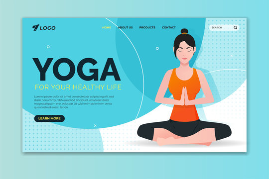 Yoga for your healthy life landing page. Woman doing lotus pose. Web page design for website and mobile website
