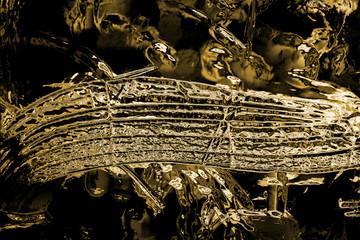 Fondo dorado musical. Concepto de música y melodía. Notas musicales y pentagrama. Adorno abstracto en oro. Remolino dorado de notas musicales abstractas y brillo sobre un fondo negro. Fondo de ondas.