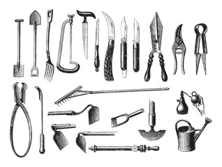 Old garden tools / vintage illustration from Brockhaus Konversations-Lexikon 1908