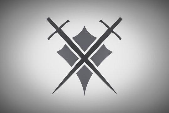 Shield and sword illustration.