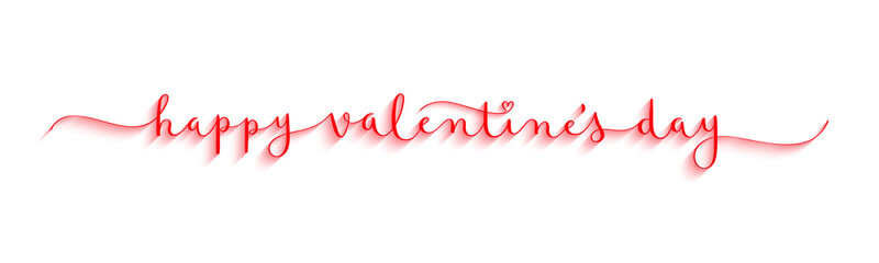 Wall Mural - HAPPY VALENTINE'S DAY red vector brush calligraphy banner with swashes