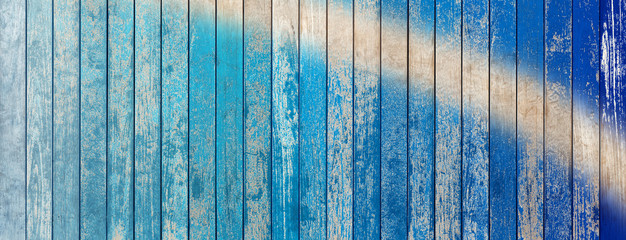 blue painted wood background with copy space for text