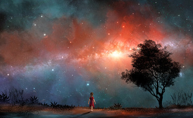 Fotorollo Dunkelbraun Cute small girl in red dress walk on land with tree and milky way in colorful nebula. Elements furnished by NASA. 3D rendering