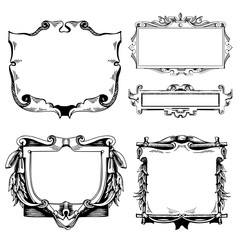Cartouche for an old geographical map. Ancient frame for the signature. Baroque, Rococo style. Hand-drawn sketch vector