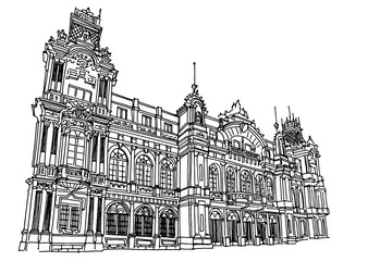 Wall Mural - Vector sketch of Port Authority of Barcelona. Spain.