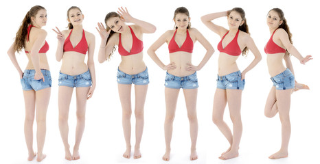 Teenage girl in bikini and hot pants as a group photo montage in the studio