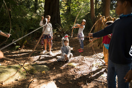 Imaginative boy and girl friends aiming bow and arrows at boy in wolf costume in sunny woods