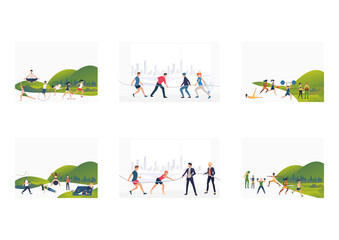 Set of people actively training and resting outdoor. Flat vector illustrations of people training, competing in tug-of-war. Sport and recreation concept for banner, website design or landing web page