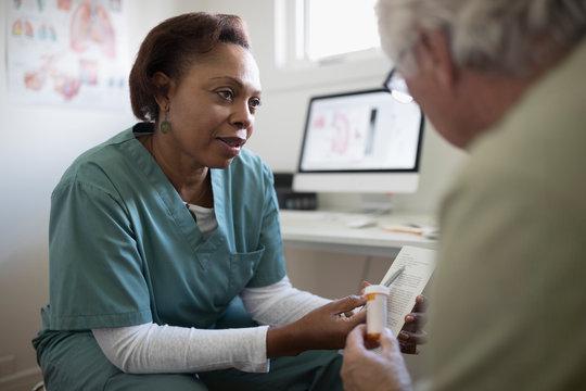 Female doctor prescription prescription medication to senior male client in examination room