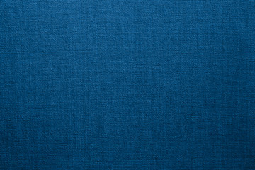 Blue linen fabric background or texture