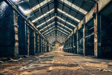 industrial interior of an abandoned factory