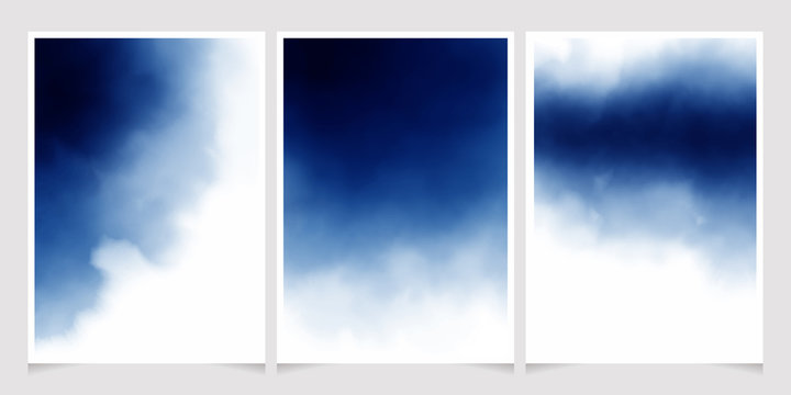 dark blue watercolor background for wedding invitation card 5x7